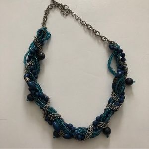 Blue & silver beaded braided necklaces